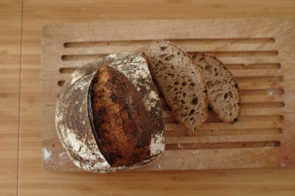 "Two cut slices of the ""Wholemeal Sourdough with a Splash of Rye (Again)"" bread"